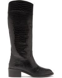 Aquazzura ペトラ クロコダイルパターンレザーブーツ 45 - ブラック