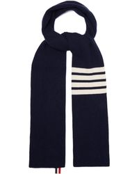 Thom Browne - Stripe Detail Ribbed Knit Cashmere Scarf - Lyst