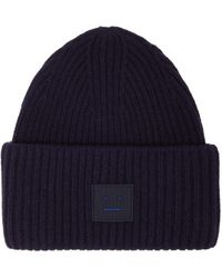 Acne Studios Pansy Ribbed Knit Wool Beanie Hat - Blue