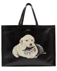 Balenciaga - Printed Leather Tote Bag - Lyst