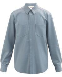 Nanushka デクラン フェイクレザーシャツ - ブルー