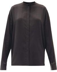 Haider Ackermann Dali Stand-collar Silk-charmeuse Blouse - Black