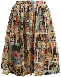 Prada | Comic-print Flared Skirt | Lyst