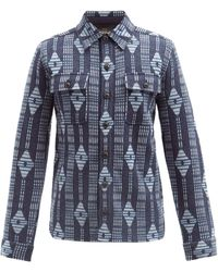 RRL ダイヤジャカード ウールシャツ - ブルー
