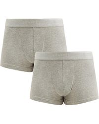 Sunspel Pack Of Two Cotton-blend Boxer Briefs - Grey