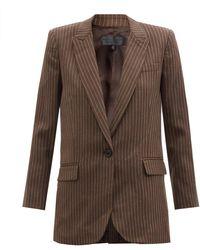 Nili Lotan Diane Single-breasted Pinstriped Wool Jacket - Brown