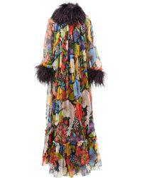 Saint Laurent Feather-trimmed Floral-print Silk-crepe Gown - Multicolor