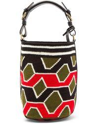 Colville Wayuu Geometric-weave Cotton Bucket Bag - Green