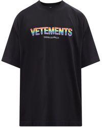 Vetements プリント コットンtシャツ - ブラック