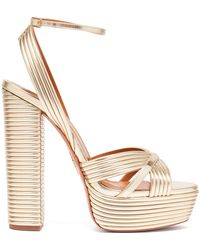 Aquazzura Sundance 140 Metallic-leather Platform Sandals