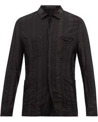 Haider Ackermann サテンストライプ ツイルオーバーシャツ - ブラック