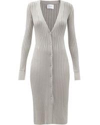 Galvan London Rhea Rib-knitted Cardigan Dress - Metallic