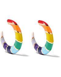 Alison Lou Créoles en émail et or 14 carats Petite V - Multicolore