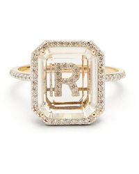 Mateo Initials Diamond, Quartz & 14kt Gold Ring R-z - Metallic