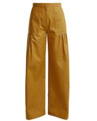Duro Olowu - High Rise Wide Leg Cotton Denim Trousers - Womens - Dark Yellow - Multicolour