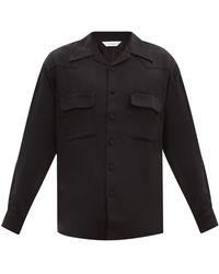 Sasquatchfabrix ポイントキューバンカラー マットサテンシャツ - ブラック