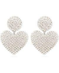 Alessandra Rich Crystal-heart Drop Clip Earrings - Multicolor