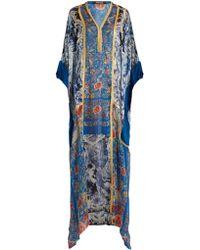 Roberto Cavalli - Phoenix-print Silk-satin Gown - Lyst