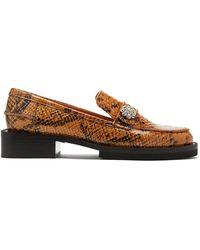 Ganni Crystal-embellished Python-effect Leather Loafers - Multicolor