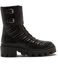 Gucci シェブロンキルティング レザーブーツ - ブラック