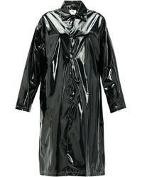 Marine Serre Logo-print Single-breasted Pvc Raincoat - Black