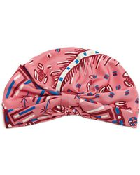 Valentino - Abstract Print Silk Satin Turban Hat - Lyst