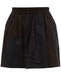 By Walid Narmin Lace-panel Upcycled-cotton Shorts - Black