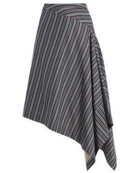 Palmer//Harding - Draped-front Striped Cotton-blend Skirt - Lyst