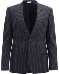 Alexander McQueen ピンストライプ ウールシングルジャケット - ブルー