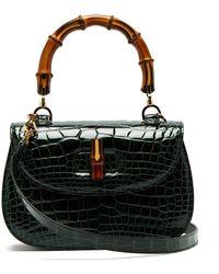Gucci - Bamboo Handle Crocodile Leather Bag - Lyst
