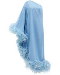 Taller Marmo ウブド ワンショルダー フェザートリムドレス - ブルー