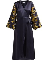 OSMAN Embroidered Satin Wrap Dress - Blue