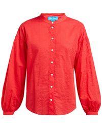 M.i.h Jeans - Colt Band Collar Cotton Seersucker Shirt - Lyst