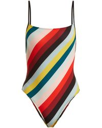 Solid & Striped The Chelsea Striped Swimsuit - Red