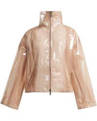 Valentino Stand-collar Semi-sheer Vinyl Jacket - Natural
