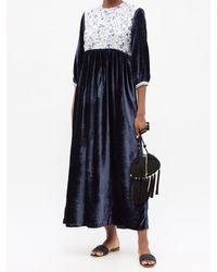 Muzungu Sisters Touba Hand-embroidered Silk-blend Velvet Dress - Blue