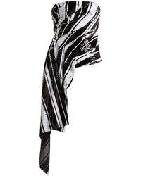 Halpern Striped Sequin Asymmetric Bustier Top - Black