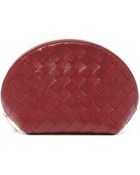 Bottega Veneta Intrecciato Leather Make-up Bag - Red