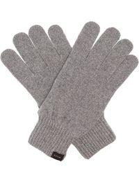Paul Smith Logo-tab Cashmere-blend Gloves - Grey