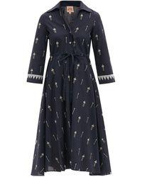 Le Sirenuse ルーシー エンブロイダリー コットンシャツドレス - ブルー