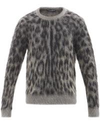 Dolce & Gabbana レオパードジャカード モヘアブレンドセーター - グレー