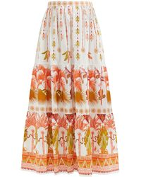 Le Sirenuse Saskia Winter Garden-print Cotton-poplin Skirt - Multicolour