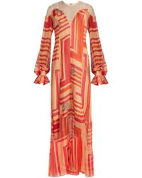 Katie Eary - - Geo Print Silk Chiffon Dress - Womens - Red Multi - Lyst