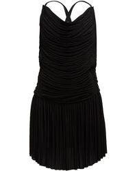 Atlein ギャザー プリーツミニドレス - ブラック