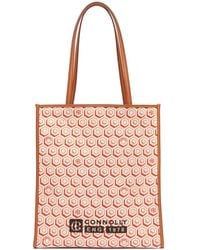 CONNOLLY - Geometric-print Canvas And Leather Tote Bag - Lyst