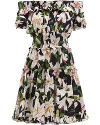 Dolce & Gabbana Printed Off Shoulder Cotton Poplin Dress - Black