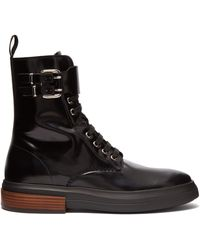 Tod's - Lace Up Leather Ankle Boots - Lyst