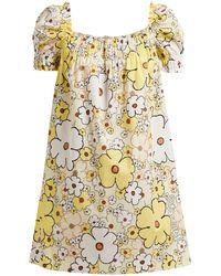 Miu Miu - Floral Print Square Neck Cotton Poplin Mini Dress - Lyst
