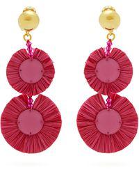 Oscar de la Renta Bead-embellished Raffia Disc-drop Earrings - Multicolour