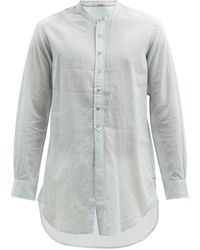 Péro Striped Cotton Tunic Shirt - Blue